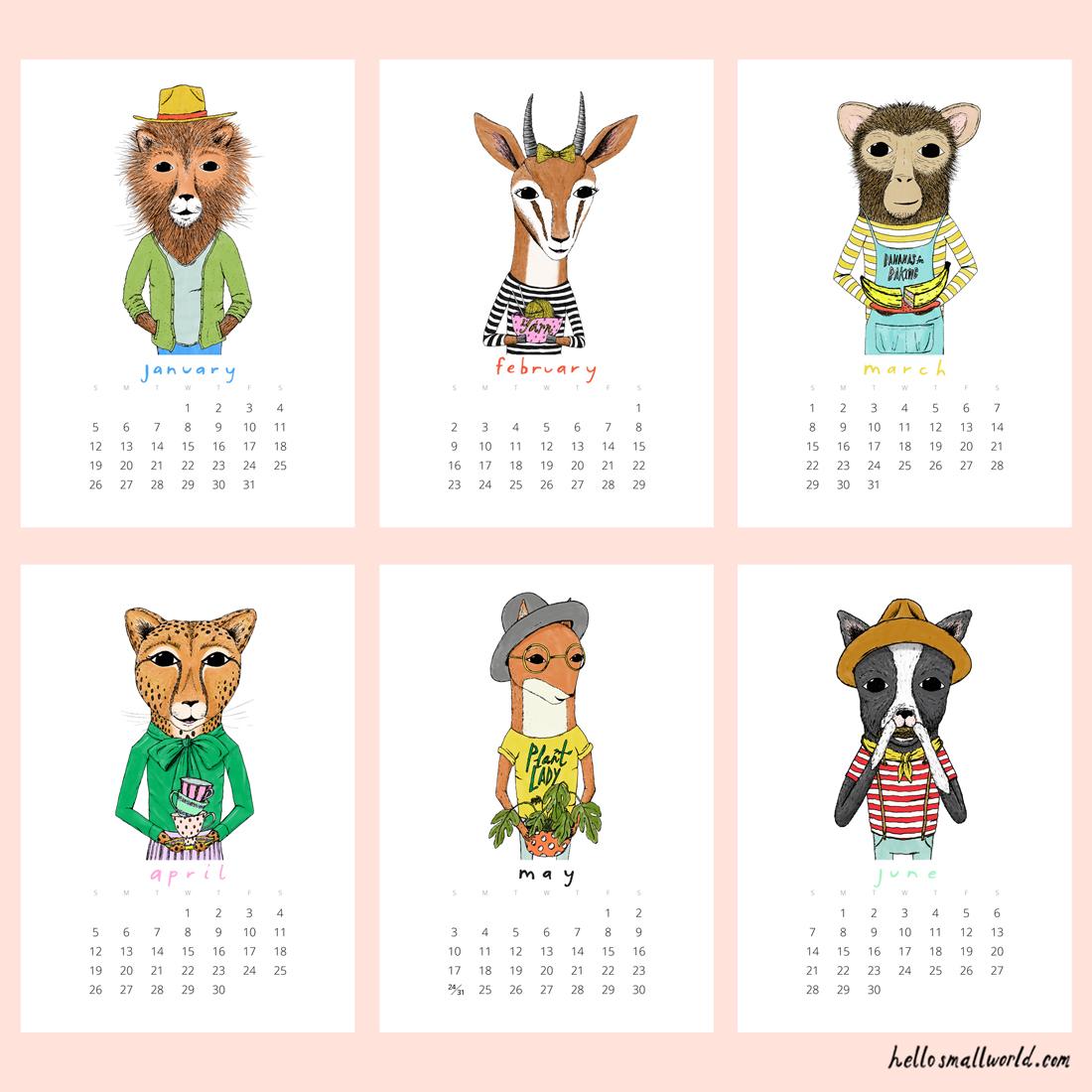 2020 Jaunty Animals Calendar Hello Small World