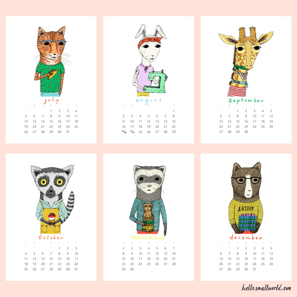 jaunty animals 2020 calendar - view of last 6 months
