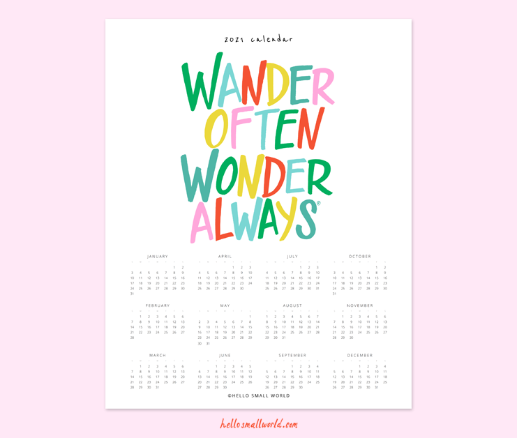 2021 wander often wonder always calendar