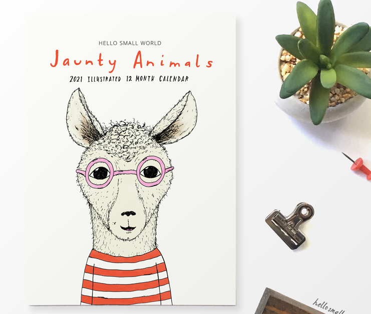 cover view of jaunty animals 2021 calendar with stripes and glasses on animals