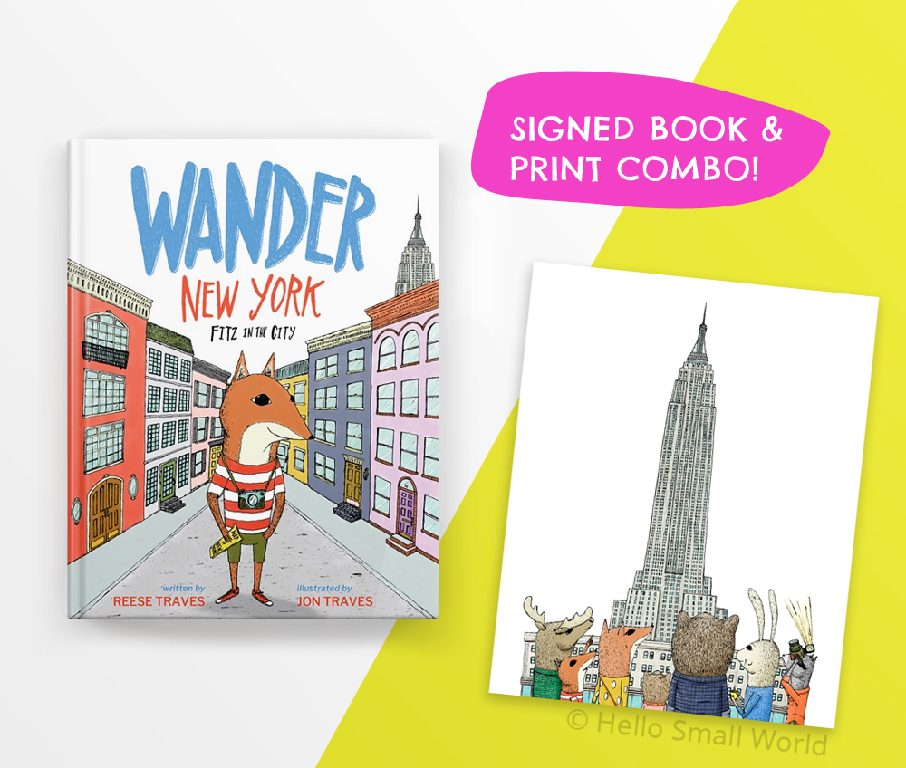 get a signed copy of wander new york picture book with addon whimsical illustration print from book - kids gift
