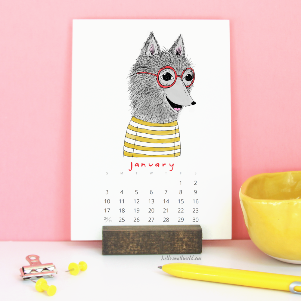 january from jaunty animals calendar in wooden stand