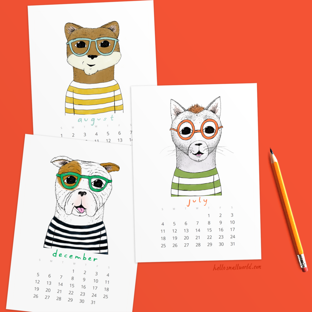 jaunty animals 2021 calendar for desk or wall by hello small world