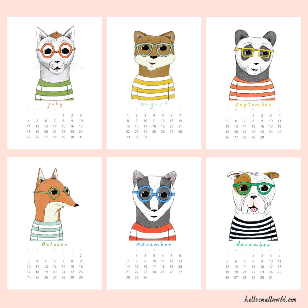 jaunty animals 2021 calendar - last 6 months