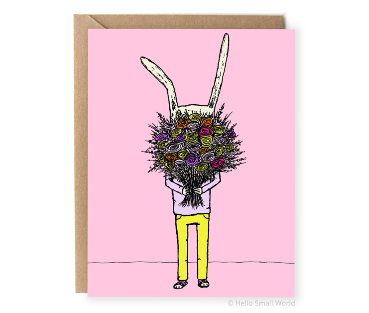 flower rabbit illustrated greeting card for mothers day love you any occassion card