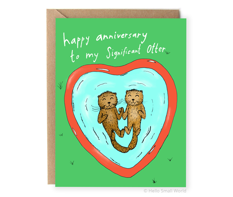 happy anniversary to my significant otter pun card