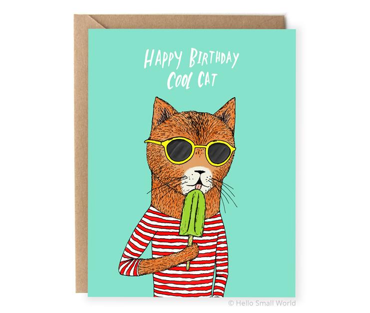happy birthday cool cat pun birthday card
