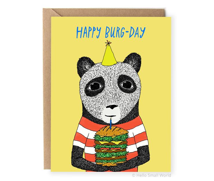 happy burg-day pun birthday card with burger panda bear