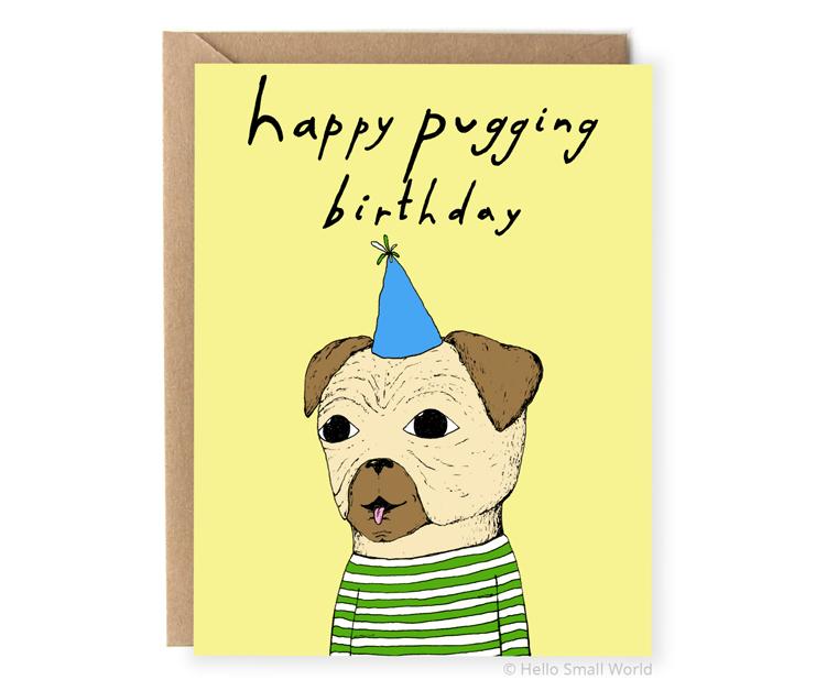 happy puggin birthday pug pun card