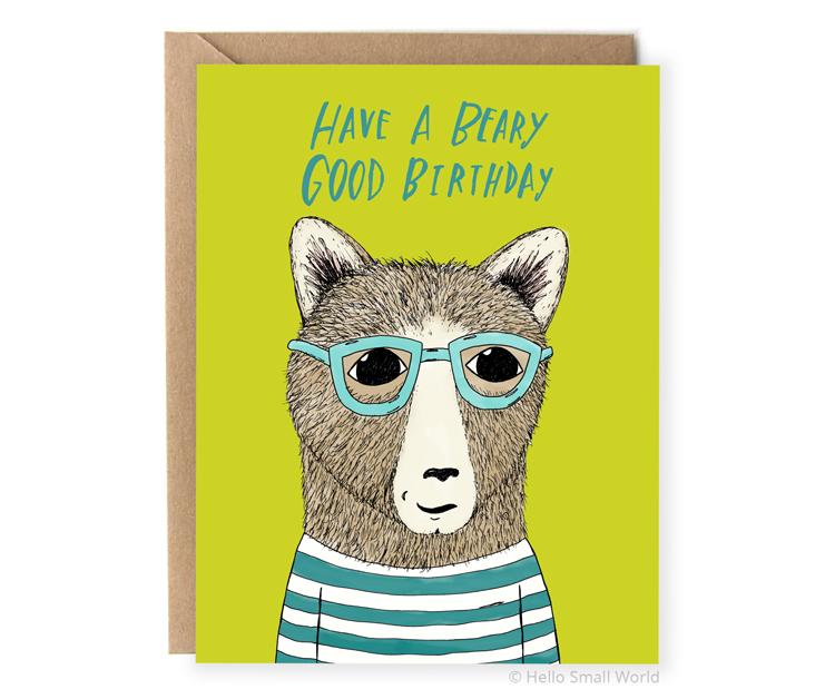 have a beary good birthday pun card