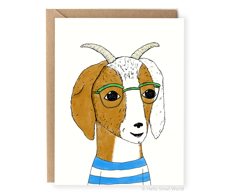 hipster goat with glasses notecard card
