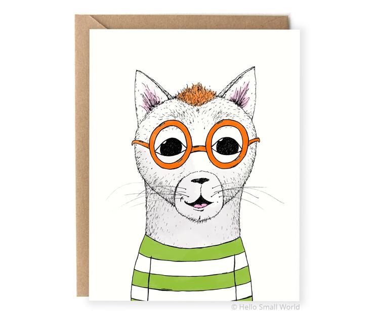 hipster mohawk cat notecard card