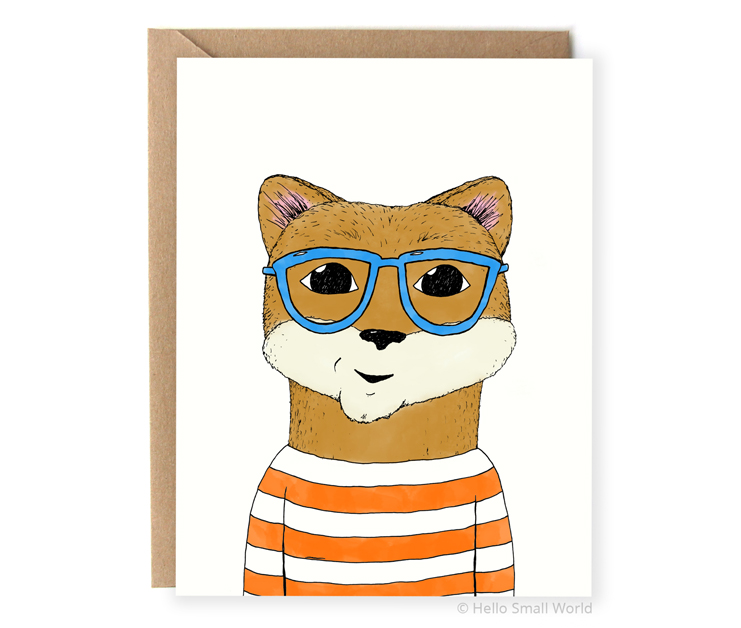 hipster otter with glasses illustrated animal notecard