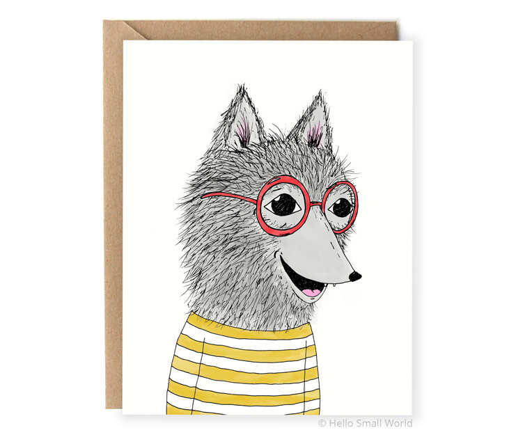 hipster wolf in clothes and glasses animal notecard illustrated blank card