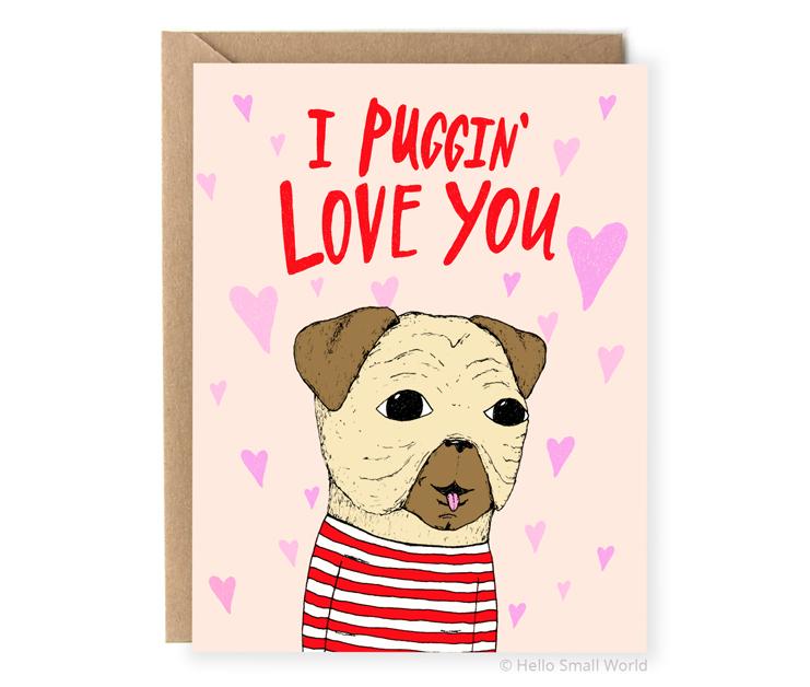 i puggin love you pug dog animal pun card