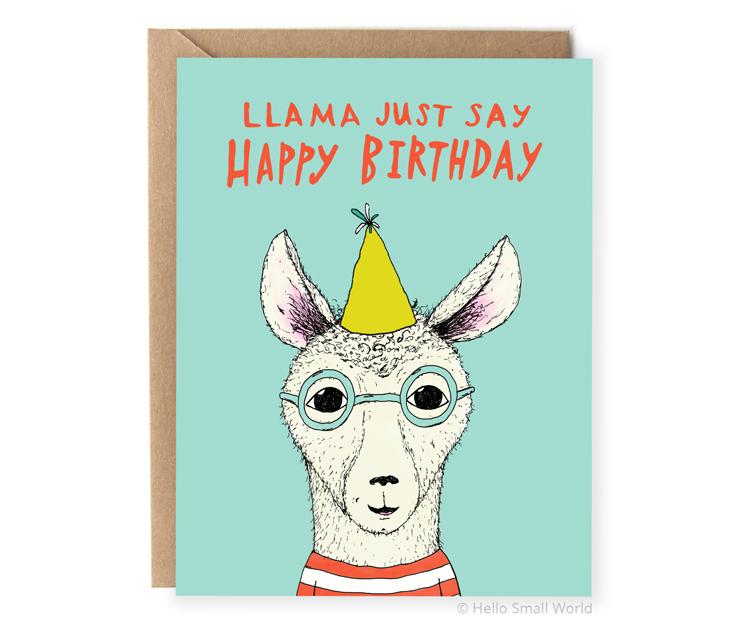 llama just say happy birthday card llama pun