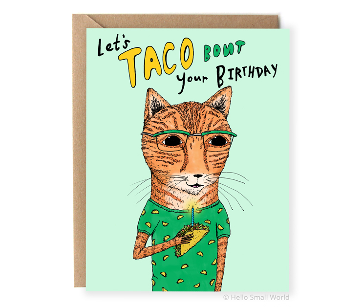 taco bout your birthday cat card
