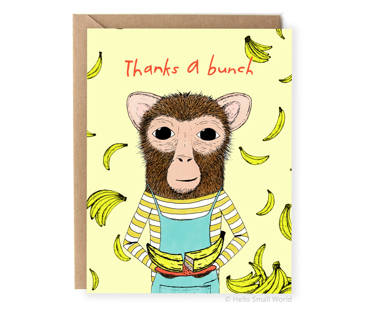 thanks a bunch funny food pun thank you card