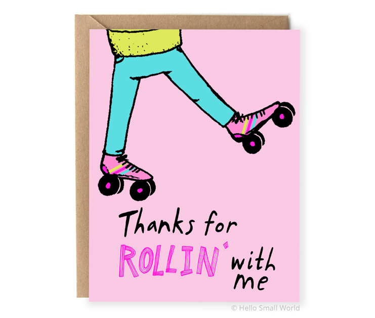 thanks for rollin with me rollerskate rollerskating pun thank you card