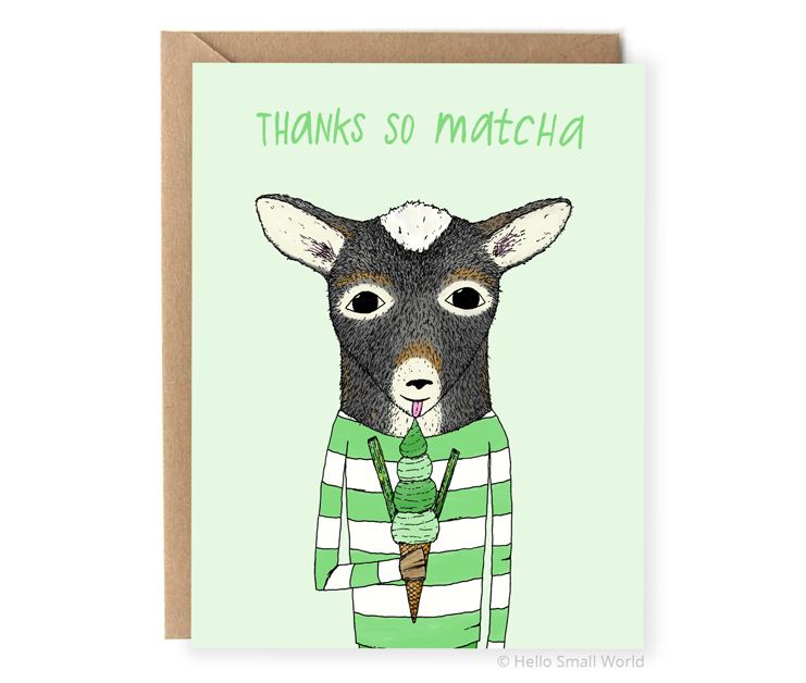 thanks so matcha ice cream food pun thank you card