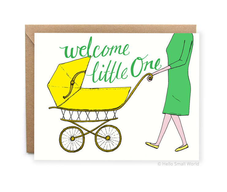 welcome little one in baby carriage gender neutral new baby card
