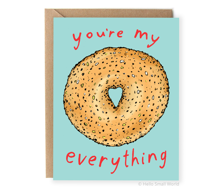 youre my everything bagel pun love anniversary valentine card