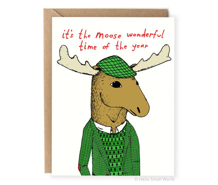 its the moose wonderful time of year animal pun christmas card