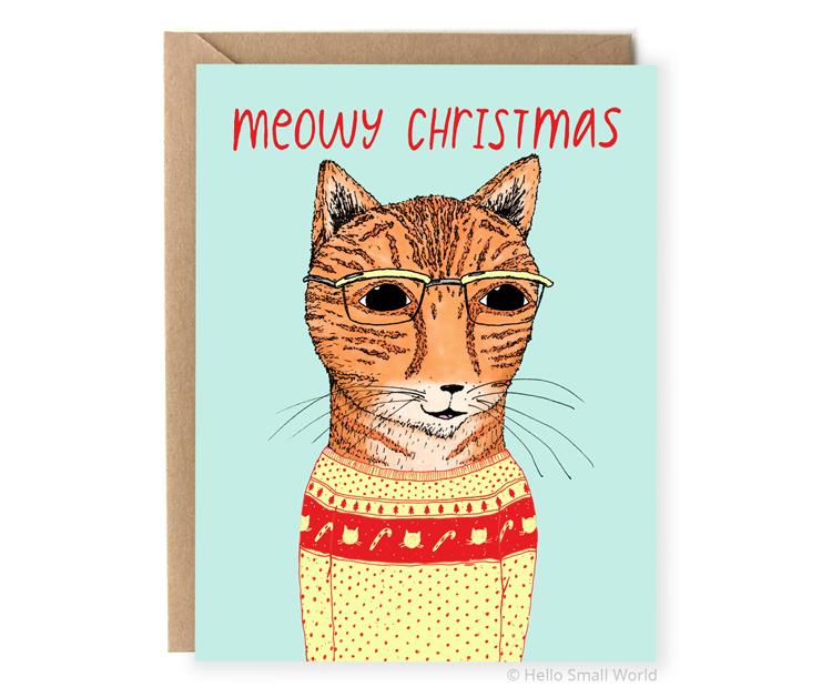 meowy christmas cat pun holiday card
