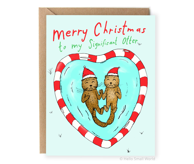 merry christmas to my significant otter pun card